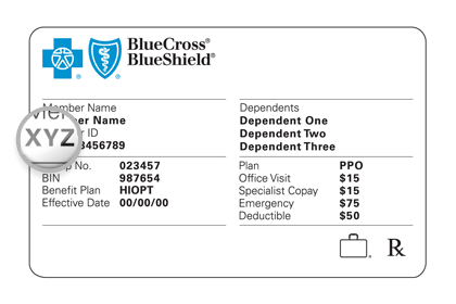 A sample BCBS member card