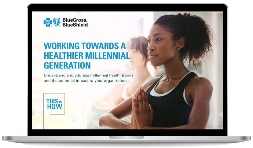 Millennial Health eBook displayed on laptop
