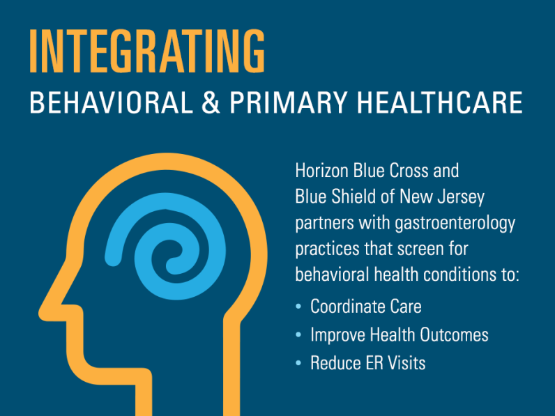 Horizon Blue Cross and Blue Shield of New Jersey partners with gastroenterology practices that screen for behavioral health conditions to coordinate care, improve health outcomes, and reduce ER visits.