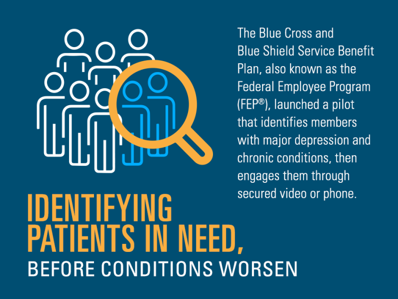 The Blue Cross and Blue Shield Service Benefit Plan, also known as the Federal Employee Program (FEP), launched a pilot that identifies members with major depression and chronic conditions, then engages them through secured video or phone.