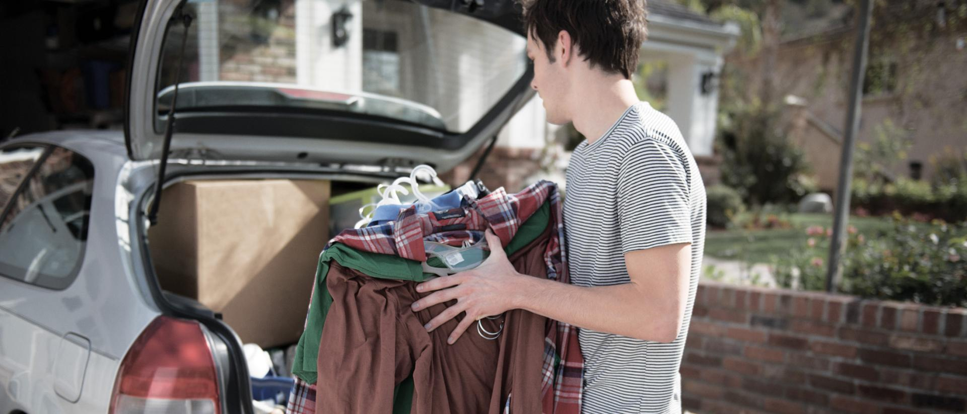 Man packing car to move