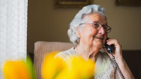Independence Blue Cross Medicare Advantage member on the phone during COVID-19 pandemic