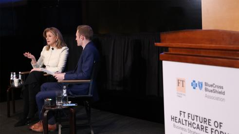 Arianna Huffington, founder and CEO of Thrive Global and the Huffington Post, speaks at FT event