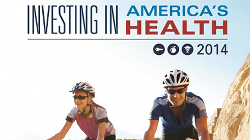 2 cyclists on cover of Investing in America's Health 2014