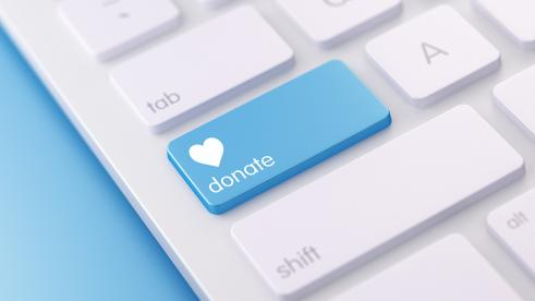 Keyboard with donation button to support BCBSLA's COVID-19 response online charity portal