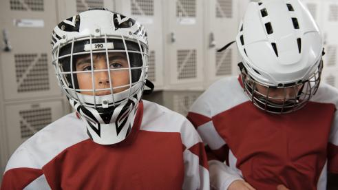 Child hockey players