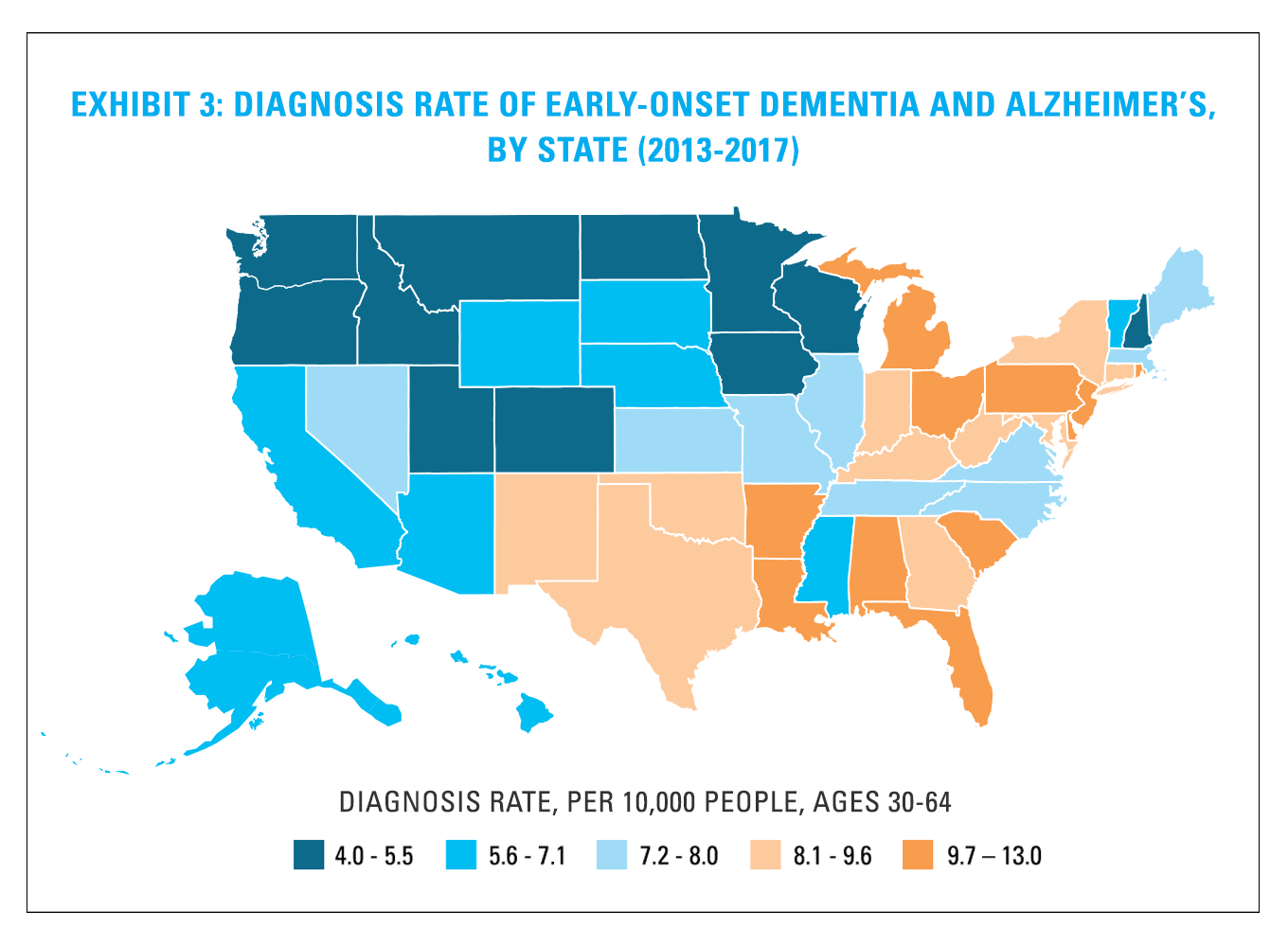 Exhibit 3: Diagnosis Rate of Early-Onset Dementia and Alzheimer's, by State (2013-2017)