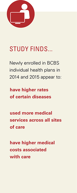 Study finds newly enrolled in BCBS individual health plans in 2014 and 2015 appear to have higher rates of certain diseases